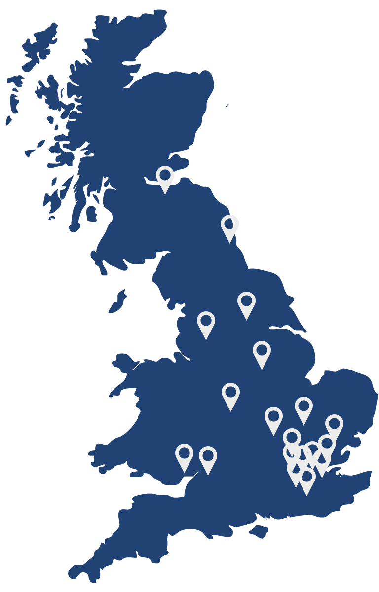 IOSH Location Map - Map of Project Skills Solutions' IOSH locations