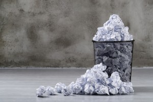 Creased paper for recycling - Business waste management and health and safety