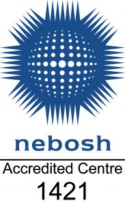"Official NEBOSH logo which states ""NEBOSH Accredited Centre 1421"""